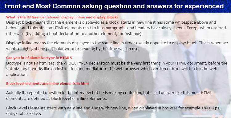what is the difference between display inline and display block - Most Common Interview Questions And Answers