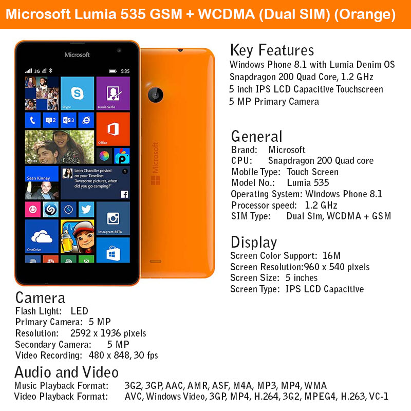 Microsoft Lumia 535 GSM + WCDMA Big and bold blends superior performance and awesome design available in different colors like block and orange this most primitive brand in the series.